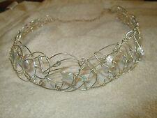 Bridal Tiara Crown Swarovski Crystal Keishi Pearl Sterling Silver Wire Wedding