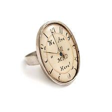 Alice nel paese delle meraviglie Anello SIAMO TUTTI PAZZI qui Clock Orologio Argento Tè Stregatto