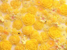 Yellow 10Pcs Mixed Flower Rose Floral Cabochon DIY CRAFT Decoden Flatback Resin