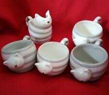 Service à café chat ,4 tasses et 1 pot à lait