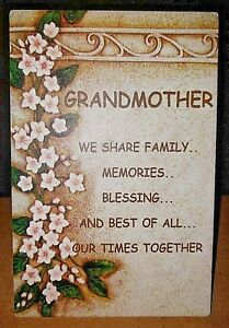 New Heavy Duty  GRANDMOTHER PLAQUE with stand or hang - FREE Shipping