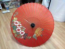 Rare Vintage Chinese Wood Umbrela Parasol Wedding Floral Handpainted