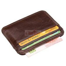 Brown Wallet slim money clip credit card holder ID business mens genuine leather