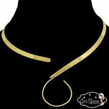 New Shiny Gold S Curve Hook Loop Swirl 5mm Choker Collar Necklace Wire (CS4)