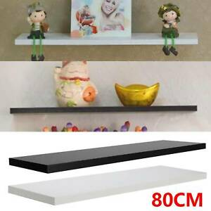 60/80cm High Gloss Shelf Floating Wall Shelves White Black Bookcase Display