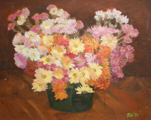 1991 impressionist oil painting still life with flowers signed