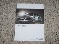2011 Audi R8 Quattro Coupe Owner Owner's Manual User Guide 4.2L 5.2L AWD