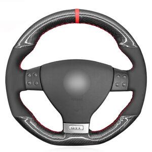 Black Suede Carbon Fiber Car Steering Wheel Cover for Volkswagen Golf 5 Mk5 GTI