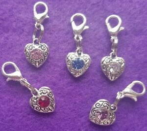 Cat/Dog Collar Clip On Heart Charms with Coloured Gemstone 5 colours Gift Bagged