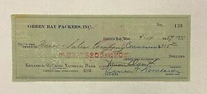 Vince Lombardi Signed 1959 Green Bay Packers Check Autograph PSA/DNA 9 AUTO LOA