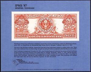 1987 Memphis - IPMS '87 - 1922 $20 Gold Certificate  NSC36, SCCS: B-105