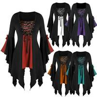Women Steampunk Victorian Gothic Top  Halloween Witch Laceup Flare Sleeve Blouse
