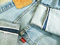 HOT VINTAGE 80's USA LEVI'S 501 BUTTON 6 STRAGHT LEG SELVEDGE Denim Jeans 34 x34