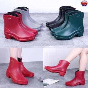 Women Ankle Rain Chelsea Boots Ladies Wellies Wellingtons Festival Casual Shoes