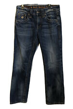 Rock Revival Men's Jeans 33x34 Anthony Straight Distressed Heavy Stitch