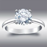 2.04 Ct  Brilliant Round Cut Solitaire Lab Engagement Ring Solid 14K White Gold