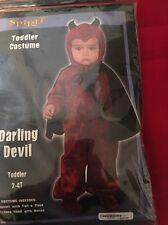 Kids Halloween Costume Toddler 2-4 Darling Devil Jumpsuit Tail Cape Hood Horns