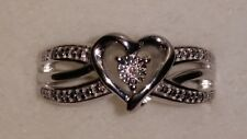 *BRAND NEW ITEM* Kay Jewelers Sterling Silver Diamond Heart Shaped Ring (Size 7)