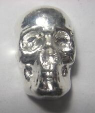 SKULL - HAND POURED - 1 oz Pure Silver 3D Bar - TCS  Great HALLOWEEN !