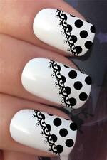 WATER NAIL TRANSFERS BLACK POLKA DOT LACE FRENCH TIP TATTOO DECALS STICKERS *380