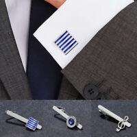 Men Tie Clip Cufflinks Shirt Crystal Silver Business Wedding Cuff Links UK