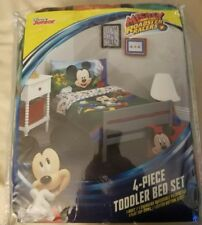 Boys Mickey Mouse 4pc Bed Set (Quilt, Flat and Fitted Sheet, Pillowcase)