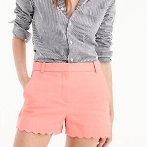 """J Crew 4"""" Linen-Cotton Blend Shorts Women 12 Pink-Coral-Peach Scalloped Hem"""