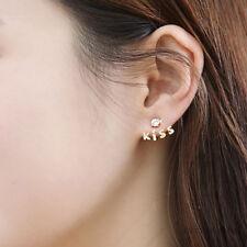 Girl Cute Lovely Gold Plated Crystal Rhinestone Kiss Letter Ear Stud Earring