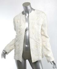 TULAROSA Womens Ivory Linen Embroidered Floral Flower Bead Embellished Jacket XS