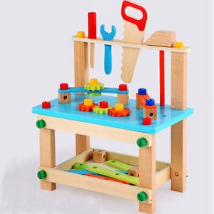 Holz Werkbank Spielzeug Rollenspiel Kinderbank Werkzeugset Zubehör Heimwerker