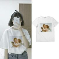 Womens Angel Print T Shirt Short Sleeves Crew Neck Loose Blouse Tops White S-2XL