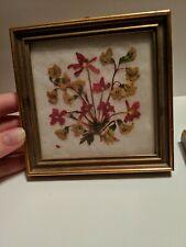 Vtg Handmade Hangable Framed Pressed Flowers (2)