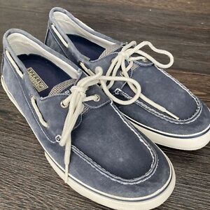 Sperry Top-Sider Canvas Boat Shoes Men's Size 11.5 Blue Slip-On 0777914 L8-CH171