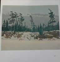 """Frances  Lee Jaques""""CARIBOU ON ICE""""1949-Wildlife Print-Offset Lithograph 11.5x10"""