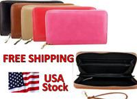 Women's Wallet / Clutch Purse with Wrist Strap, Faux Leather, Zipper - FREE SHIP