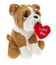 30cm BULLDOG WITH LOVE HEART Valentines Gift Puppy Teddy Bear Girls Plush Toy UK
