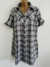 NEW Ex Yours Plus Size 16-24 Pure Cotton Black & White Grey Checked Blouse Top