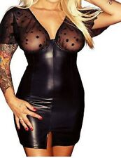 Latex Look Dress with See Through Polka Dot Mesh Underwired Bra Cap Sleeves
