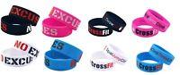 NO EXCUSES Gym Bodybuilding Fitness Crossfit Silicone Wristband Bracelet Gift UK