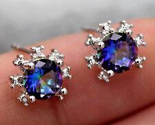 18K White Gold Filled- 6mm Sunflower Blue Mystic Topaz Zircon Prom Lady Earrings