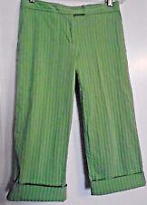 IZOD XFG Green Stretch Cotton Cuffed Crop Pants, Size 4