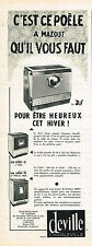 PUBLICITE ADVERTISING 124 1960  DEVILLE   poele à mazout