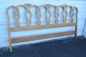 French White Wash Pickling Stain Cherry Wood King Size Headboard 1759
