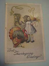 Vintage Original BEST THANKSGIVING GREETINGS #3 Historic Postcard 215