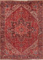 Vintage VEGETABLE DYE Geometric Heriz Serapi RED Area Rug Hand-Knotted WOOL 9x12