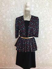 Vintage 80s Does 40s Peplum Dress, Kays, 12-14, Beautiful Print!