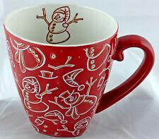 Starbucks Barista Mug 2001 Holiday Christmas Red Snowman Coffee Tea Cup HTF Rare
