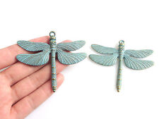 5 Large Verdigris Patina Dragonfly Charms Pendants For Jeweley Making Findings