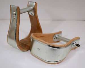 "Western Saddle Stirrup - Uncovered 3"" Bell Bottom - Wood & Metal (E324)"