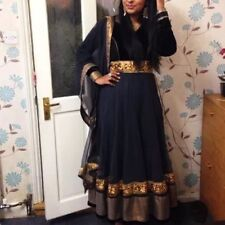 Two Piece Dress grey with gold border Anarkali Indian lengths salwar kameez